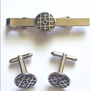 Black Silver Round Scroll Cuff Link Tie Clip Set